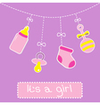 Hanging bottle pacifier rattle and sock Baby girl vector image vector image