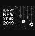 happy new year with balls and snowflakes vector image vector image