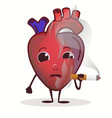 heart character with cigarette stop smoking vector image