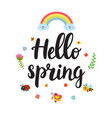 hello spring quote with decorative floral vector image vector image