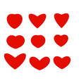 isolated abstract red color hearts of different vector image vector image