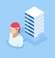isometric connecting artificial intelligence vector image