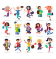 jumping happy people with bags and books in hands vector image