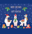 llama christmas background doodles llamas wild vector image