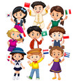 many kids holding flag from different countries vector image vector image