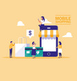 mini people with smartphone and shopping online vector image vector image