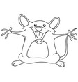 outlined happy mouse vector image vector image