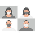 people in medical face mask vector image vector image