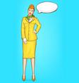 pop art stewardess flight attendant air hostess vector image vector image