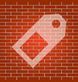 price tag sign whitish icon on brick wall vector image vector image