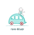 race driver sits on the machine vector image vector image