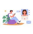 romantic dating conversation in social media vector image