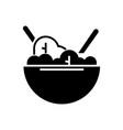 salad bowl eco icon black vector image