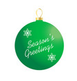 seasons greetings on green ornament vector image vector image