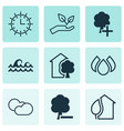 set of 9 ecology icons includes cloud cumulus vector image vector image