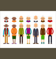 set of diverse elderly people with avatars vector image vector image