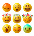 set of smiley face emoji or yellow emoticons vector image