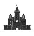 simple castle icon line art and solid black vector image