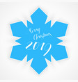simple snowflake with inscription merry christmas vector image vector image