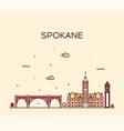 spokane skyline washington usa linear style vector image vector image