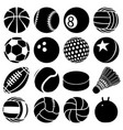 sport balls icons set play types simple style vector image vector image