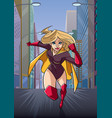 superheroine running in city vector image vector image