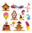 sweet houses cream and chocolate buildings flowers vector image vector image