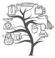 tree kitchen set style collection vector image vector image