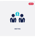 two color meeting icon from blockchain concept vector image vector image