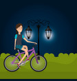 woman with bicycle in the landscape vector image vector image