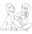 hugs of a girl and a dog vector image
