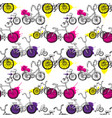 seamless background with bicycles vector image