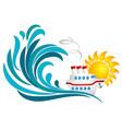 sun sea wave and cruise ship vector image