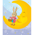 a rabbit and a moon vector image vector image
