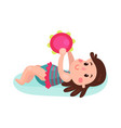 adorable brunette little girl lying on her back vector image vector image