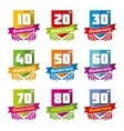 Anniversary celebration emblems in flat style vector image vector image