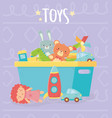 blue bucket with many funny toys vector image vector image