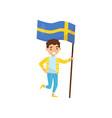 boy holding national flag of sweden design vector image vector image