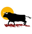 bull and sun vector image vector image