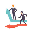 businessmen standing on moving down and growing up vector image vector image