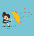 businesswoman use umbrella to protecting arrow vector image vector image