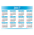 Calendar for 2017 in English with festivities vector image