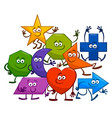 cartoon geometric shapes characters vector image vector image