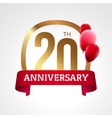 Celebrating 20th years anniversary golden label vector image vector image