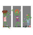 colorful zombie scary cartoon cards halloween vector image vector image