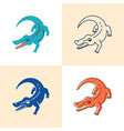 crocodile icon set in flat and line style vector image