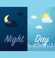 day and night mode cityscape background and vector image