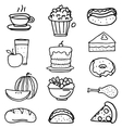 Doodle of food kitchen cake fruit vector image