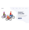family riding on bicycle in park landing page vector image vector image