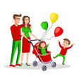 family with a boy and bacarriage colored vector image vector image